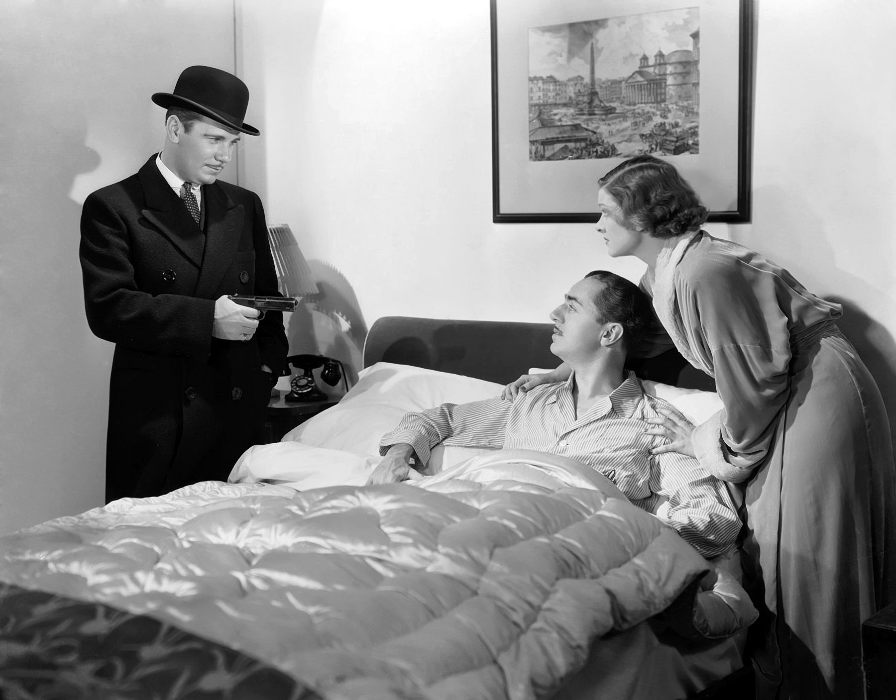 William Powell in The Thin Man with (L to R) Walter Long, William Powell, Myrna Loy