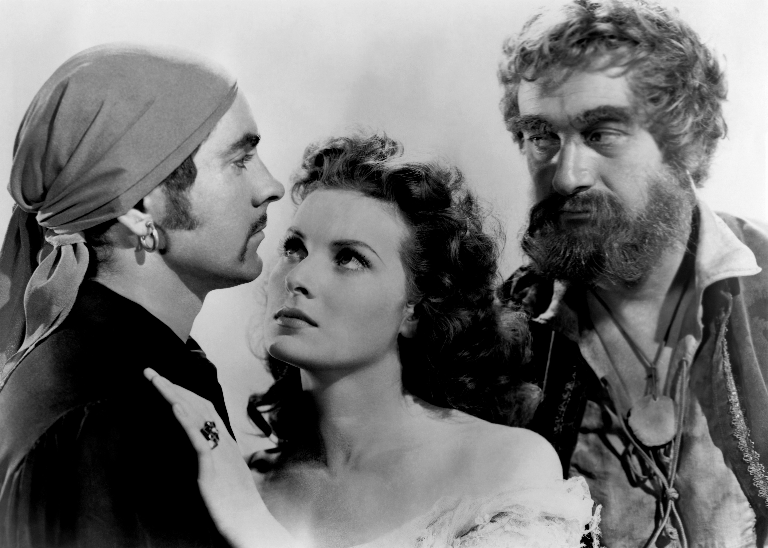 Tyrone Power, Jr. in The Black Swan with (L to R) Tyrone Power, Jr., Maureen O'Hara, George Sanders (Courtesy of Sarah and Michelle)