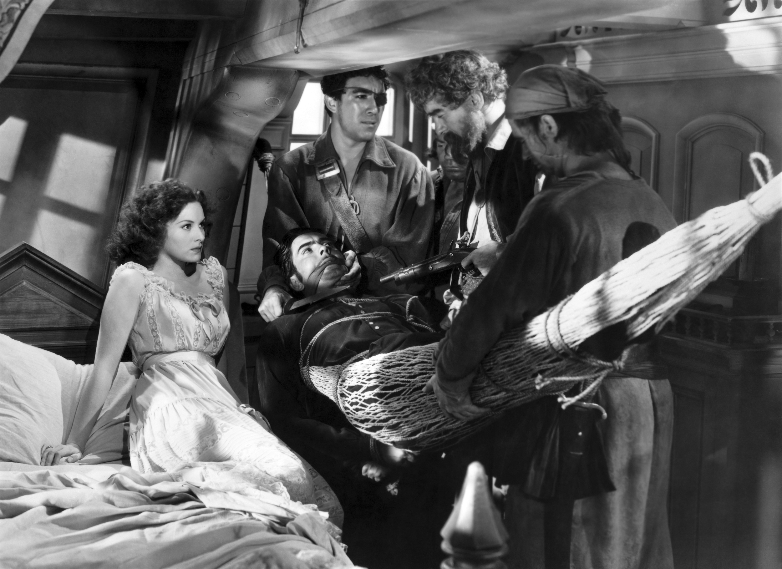 Tyrone Power, Jr. in The Black Swan with (L to R) Maureen O'Hara, Tyrone Power, Jr., Anthony Quinn, Unknown, George Sanders, Unknown (Courtesy of Sarah and Michelle)