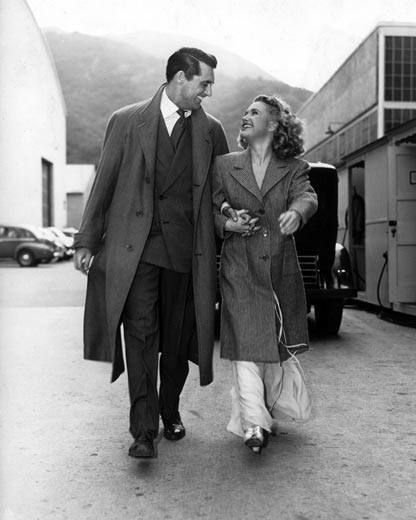 Cary Grant and Priscilla Lane behind the scenes of Arsenic and Old Lace