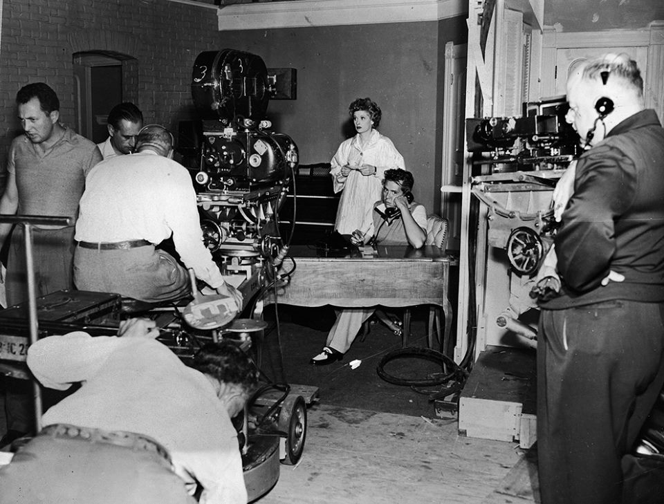 Filming the first episode of I Love Lucy, starring Lucille Ball and Desi Arnaz.