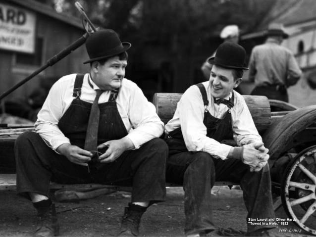 Oliver Hardy and Stan Laurel behind the scenes.