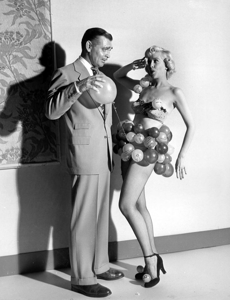 Clark Gable & Marilyn Maxwell dated briefly between marriages in 1949. In 1950, they appeared together in Key To The City which also starred Loretta Young.  Clark Gable & Marilyn Maxwell as (the atom dancer) publicity still for Key To The City, 1950