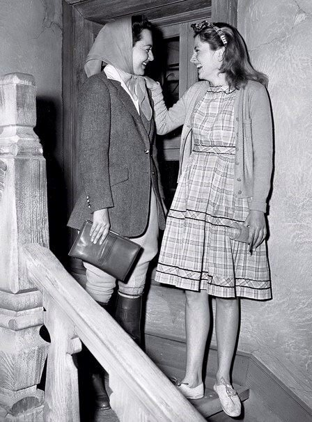 Olivia de Havilland & Joan Fontaine on the set of 'Letter from an Unknown Woman(1948).