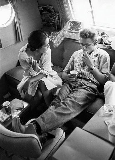 Elizabeth Taylor & James Dean on the set of Giant-1955.