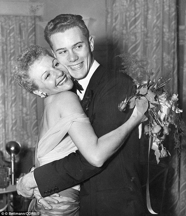 Stage actress Mary Martin and her son Larry Hagman.