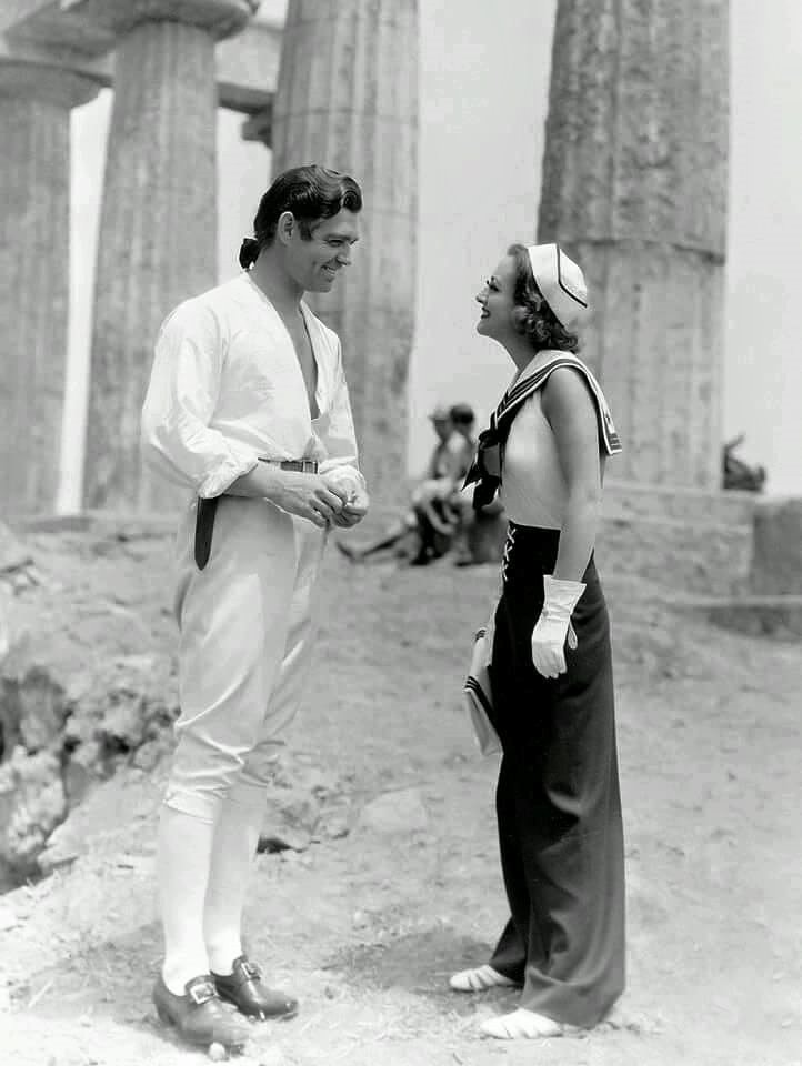 Clark Gable & Joan Crawford on the set of Mutiny on the Bounty(1935).