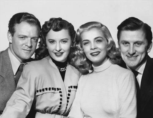Van Heflin, Barbara Stanwyck, Lisbeth Scott & Kirk Douglas