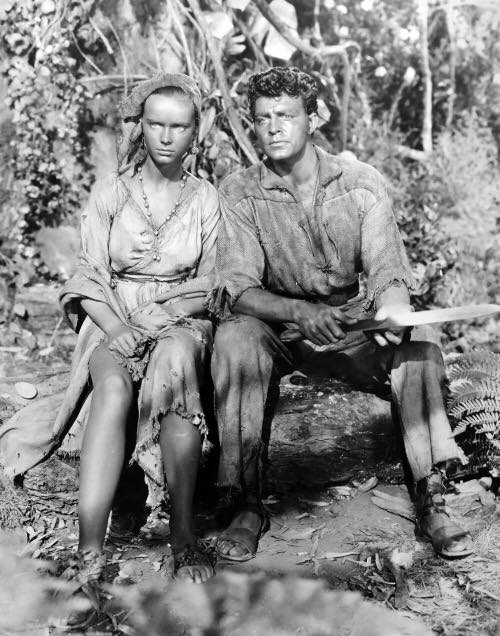 """Anne Francis and Dale Robertson in a publicity shot for """"Lydia Bailey"""" (1952)"""