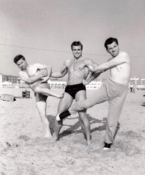 """Mickey Rooney, Ed Fury, and Eddie Bracken in a publicity shot for """"A Slight Case of Larceny"""" (1953)"""