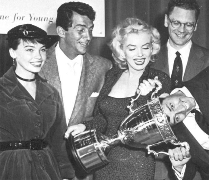 Dean Martin, Leslie Caron, Marilyn Monroe and Jerry Lewis in 1953 received the