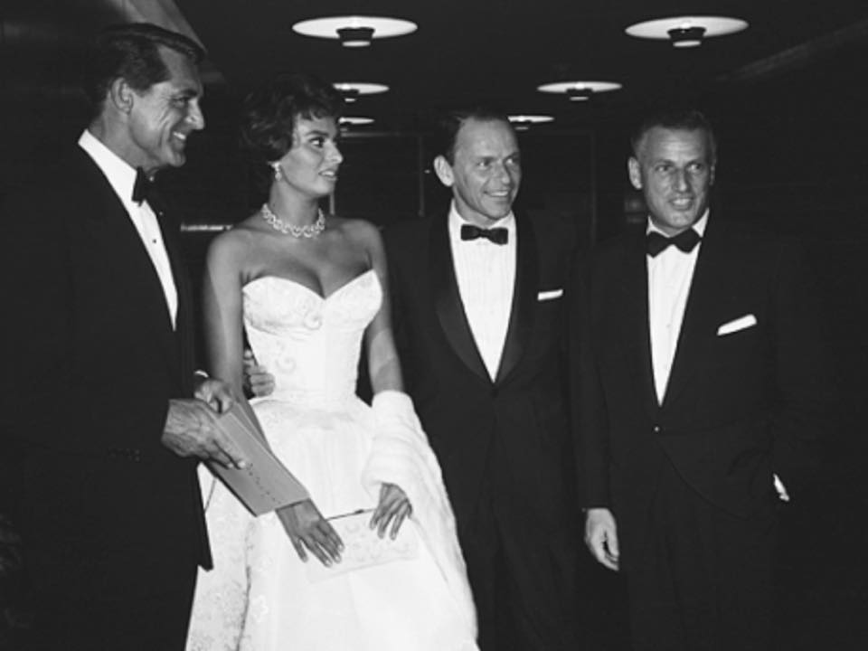 Cary Grant, Sophia Loren, Frank Sinatra, and Stanley Kramer at the Los Angeles premiere of The Pride and the Passion, June 27th, 1957