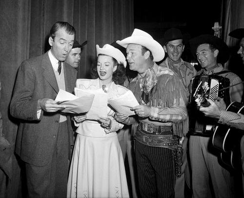 Jimmy Stewart sings with Dale Evans and Roy Rogers