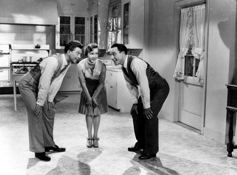 Debbie Reynolds, Donald O'Connor, and Gene Kelly in Singin' in the Rain