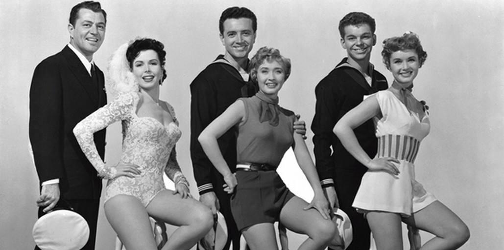 Tony Martin, Ann Miller, Vic Damone, Jane Powell, Russ Tamblyn, and Debbie Reynolds in Hit the Deck