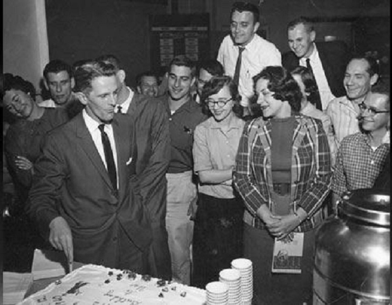 I found this photo of Mr. Faust on internet and also attached one of him and the WJRT Crew celebrating the stations 2nd anniversary in 1960