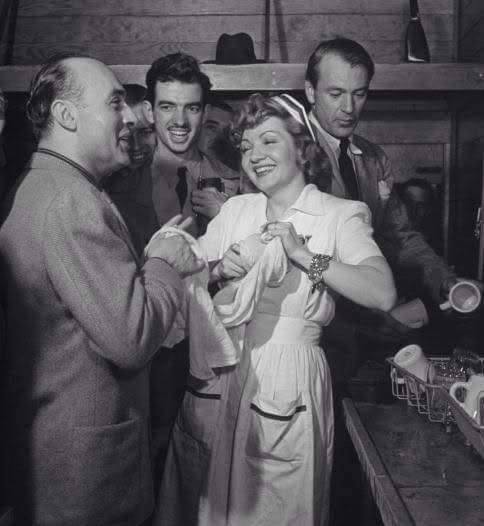 Charles Boyer,Claudette Colbert & Gary Cooper at Hollywood Canteen