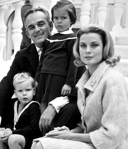 Prince Rainier & Princess Grace with their children Caroline and Albert