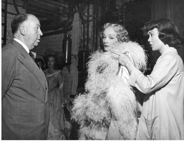 Alfred Hitchcock, Marlene Dietrich and Jane Wyman