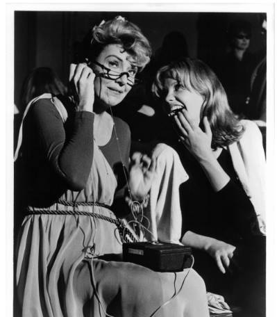 Gypsy Rose Lee and Hayley Mills in between scenes from the film 'The Trouble With Angels', 1966
