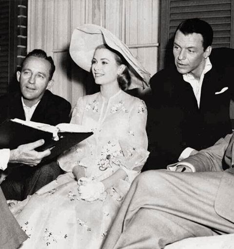 Bing Crosby, Grace Kelly and Frank Sinatra on the set of