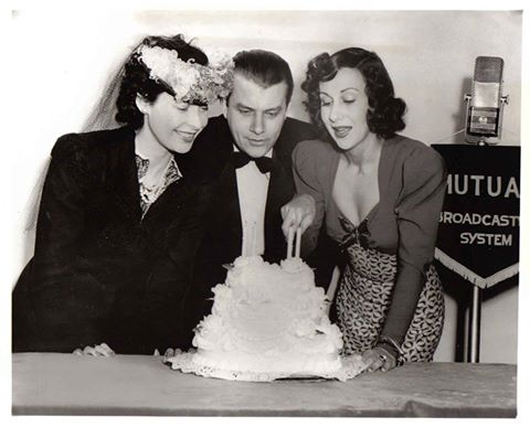 From March 1942, Arlene Francis cutting a cake in celebration of four years of radio show 'What's My Name?' being on the air, which she co-hosted. Beside her is her male counterpart on the show at the time, John Reed King, and Ilka Chase.