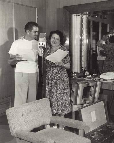 Tyrone Power snagged by columnist Louella Parsons on her radio show.
