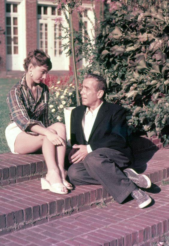 Audrey Hepburn and Humphrey Bogart on the set of Sabrina