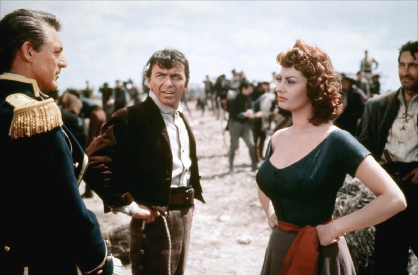 (L to R) Cary Grant, Frank Sinatra, Sophia Loren