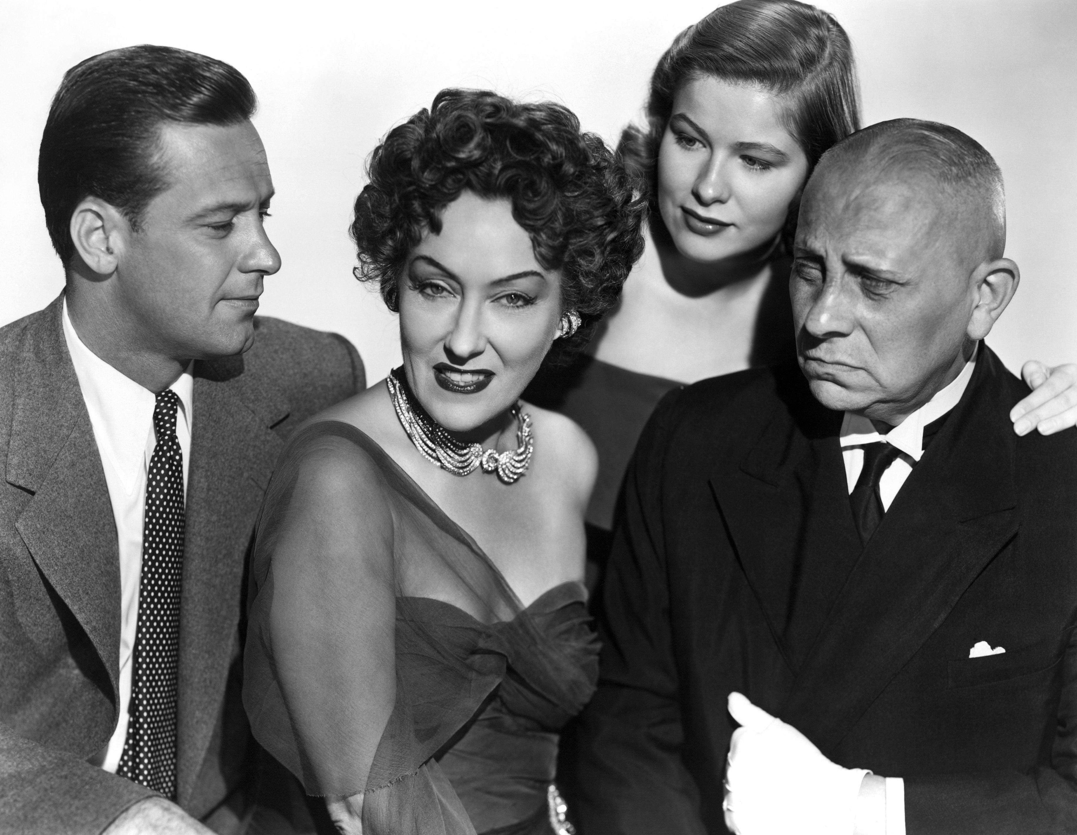 (L to R) William Holden, Gloria Swanson, Nancy Olson, Erich von Stroheim