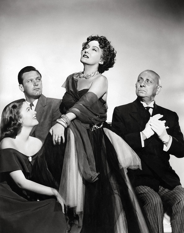 (L to R) Nancy Olson, William Holden,  Gloria Swanson, Erich von Stroheim