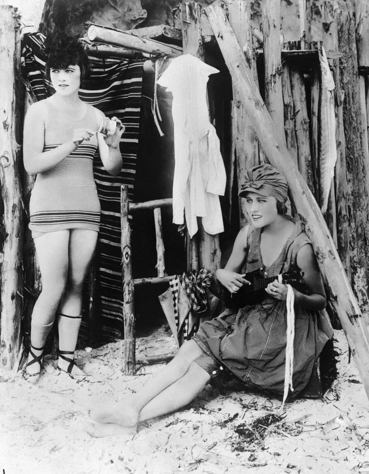 Gloria Swanson With Marie Prevost (L).