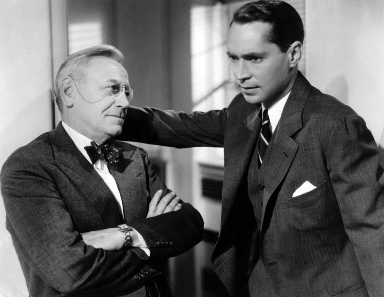 Franchot Tone With Charley Grapewin (L).