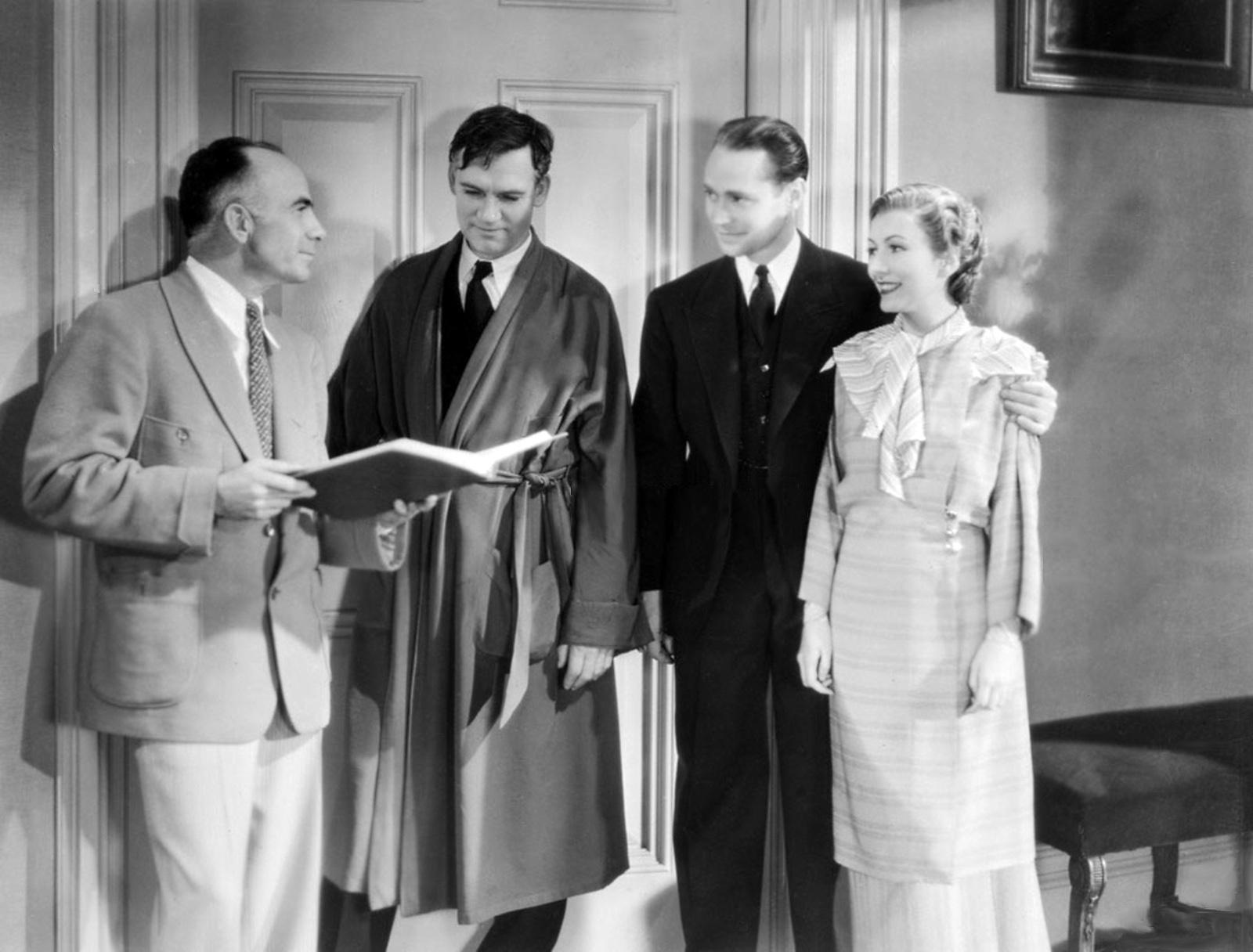 (L to R) Gregory La Cava,Walter Huston,Franchot Tone,Karen Morley.