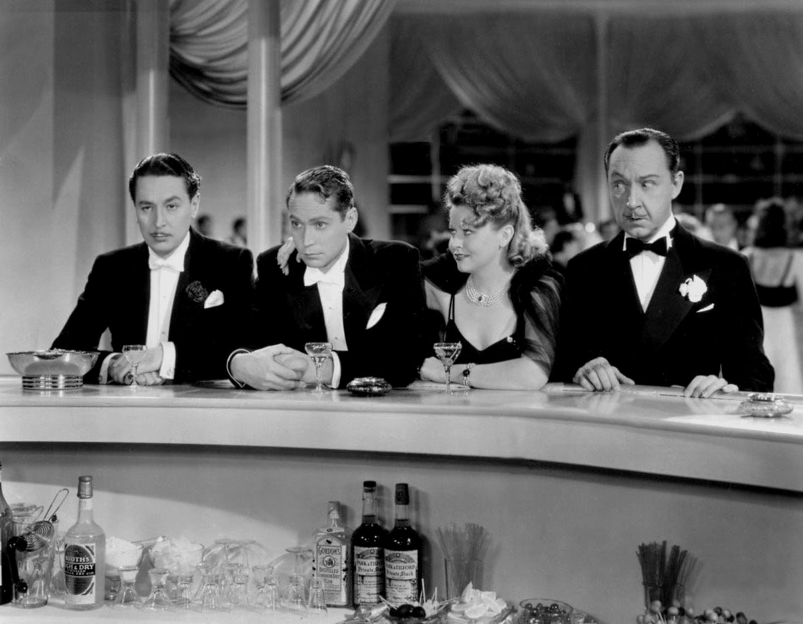 (L to R)  Reginald Owen,Franchot Tone,Barbara Pepper,Franklin Pangborn