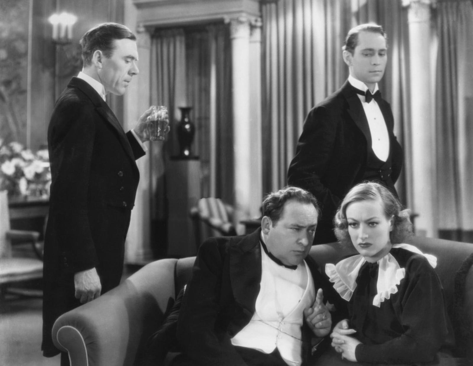 (L to R)  Leo G. Carroll,Edward Arnold,Franchot Tone,Joan Crawford