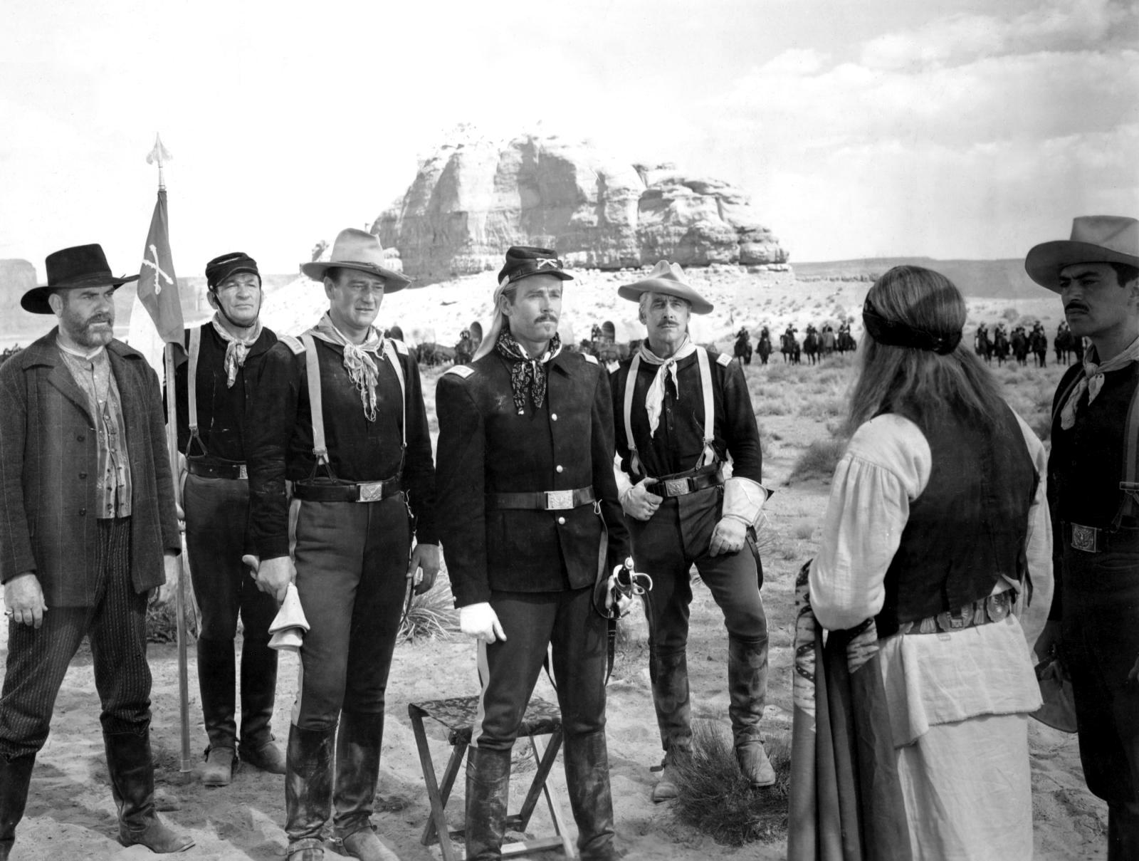 John Wayne with Victor McLaglen and Henry Fonda.