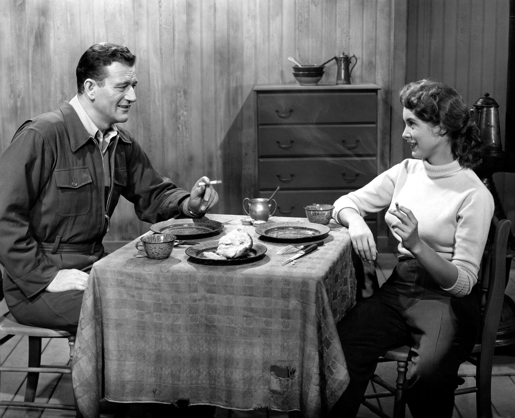 John Wayne with  Janet Leigh.