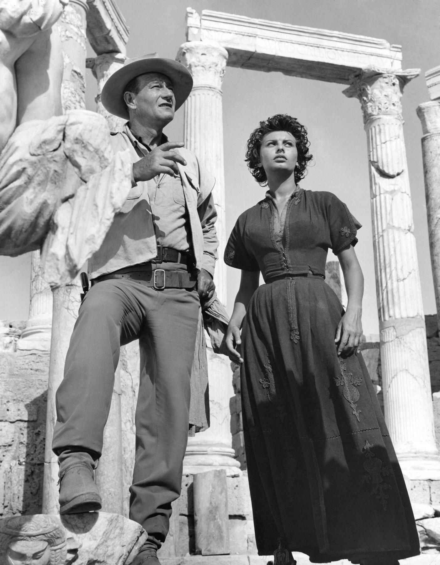 John Wayne with  Sophia Loren.