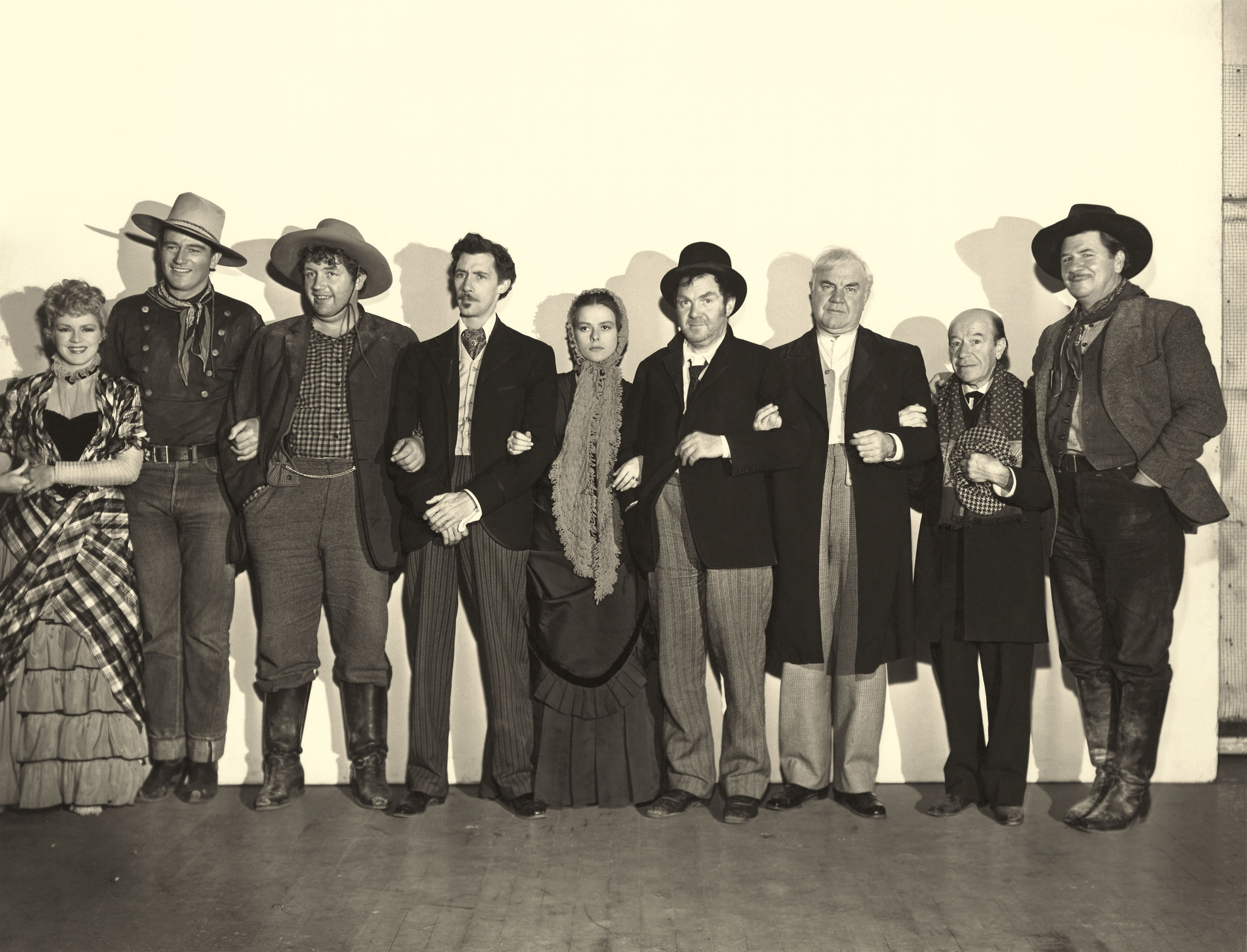 (L to R)  Claire Trevor, John Wayne, Andy Devine, John Carradine, Louise Platt, Thomas Mitchell, Berton Churchill, Donald Meek, George Bancroft