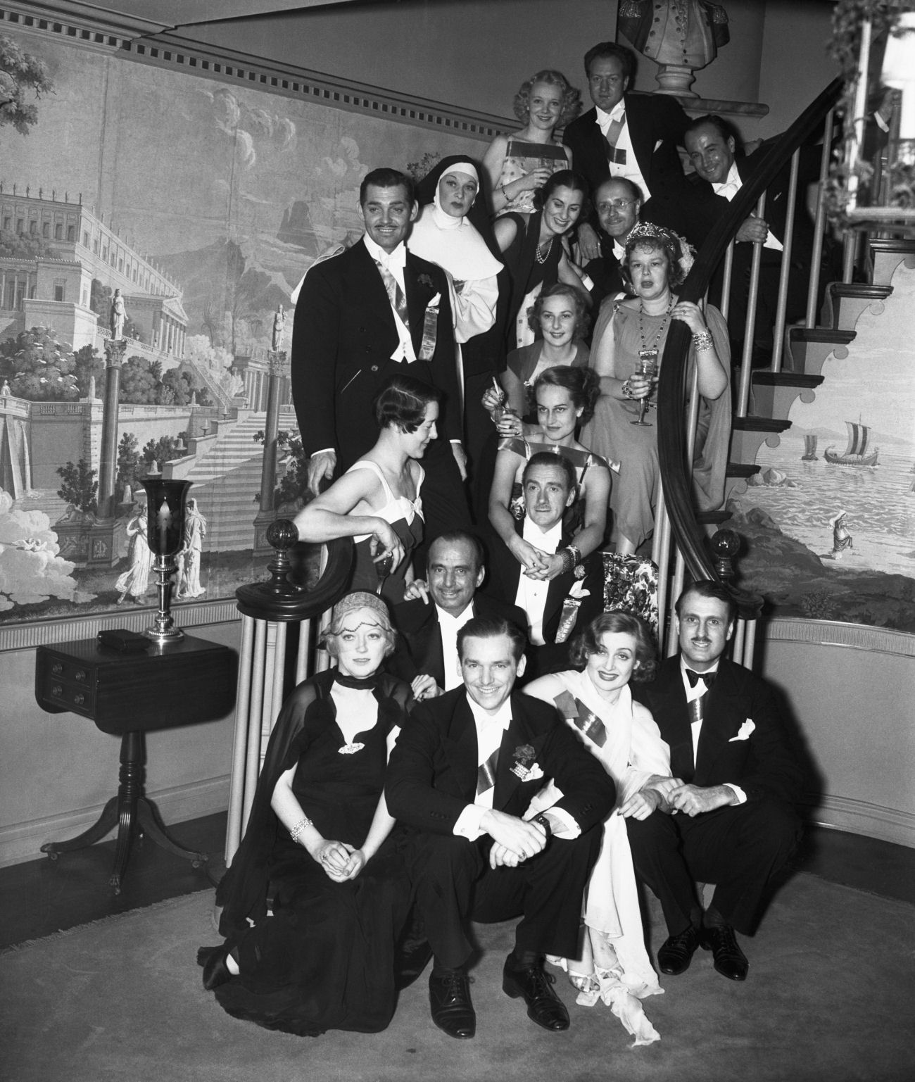 Clifton Webb with Marion Davies,Douglas Fairbanks, Jr., Douglas Fairbanks, Sr.,Clark Gable,Carole Lombard