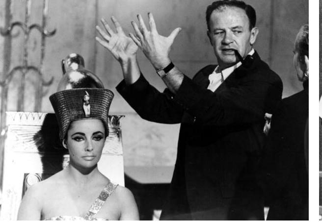 Elizabeth Taylor and Joseph L Mankiewicz on the set of the 20th Century Fox film 'Cleopatra'.
