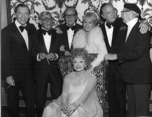 Milton Berle, George Burns, Jack Benny, Debbie Reynolds, Bob Hope, Groucho Marx and Lucille Ball
