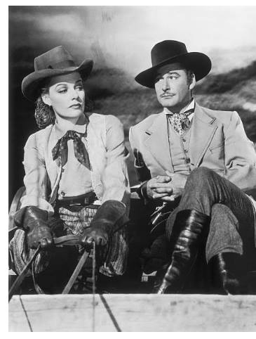 Ann Sheridan and Errol Flynn on the movie set of 'Silver River'