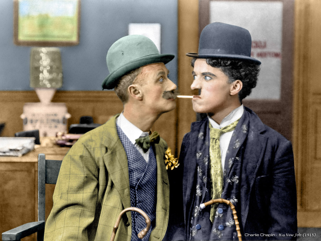 Charlie Chaplin With Ben Turpin (L)