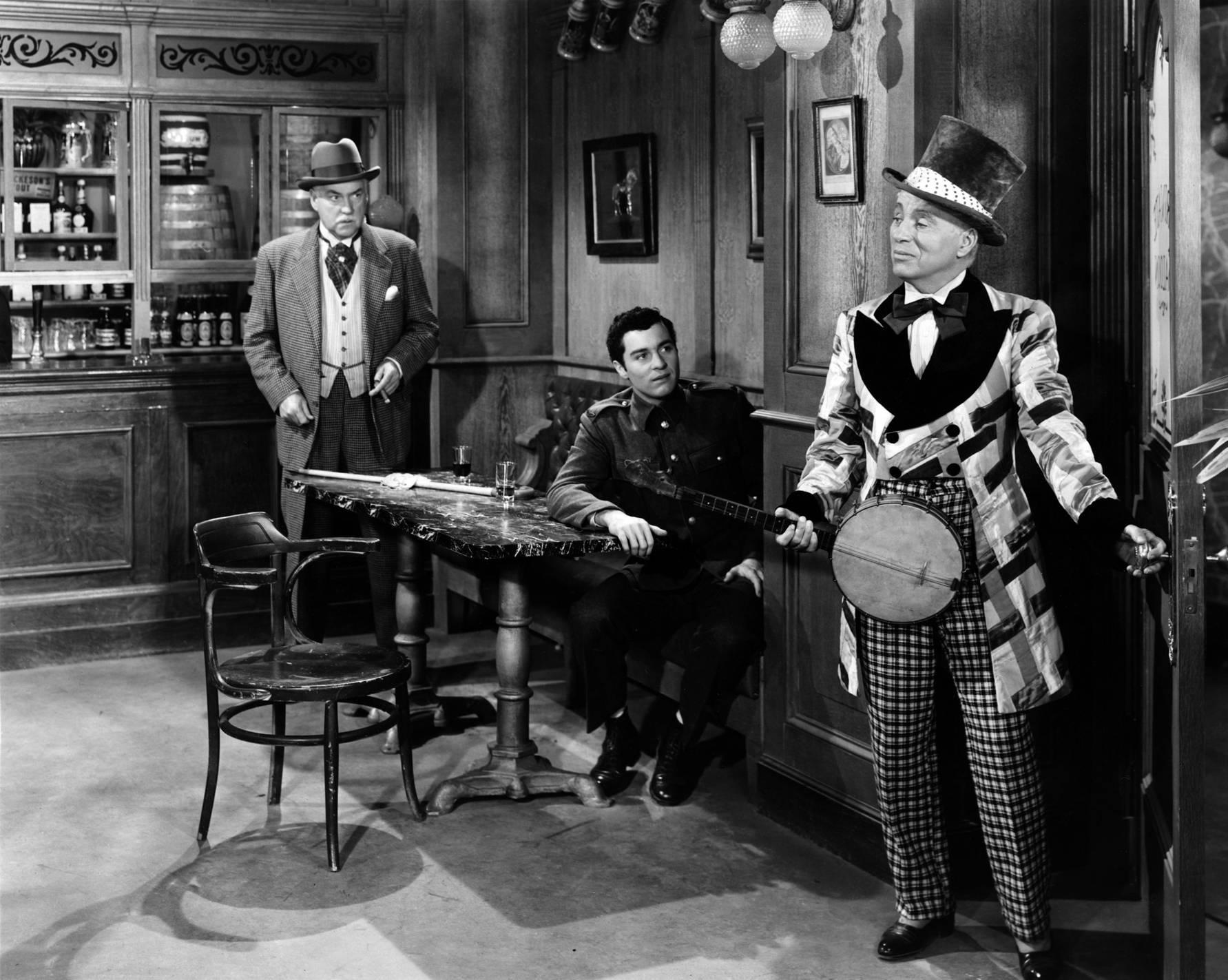 (L to R) Nigel Bruce,Sydney Chaplin and Charlie Chaplin
