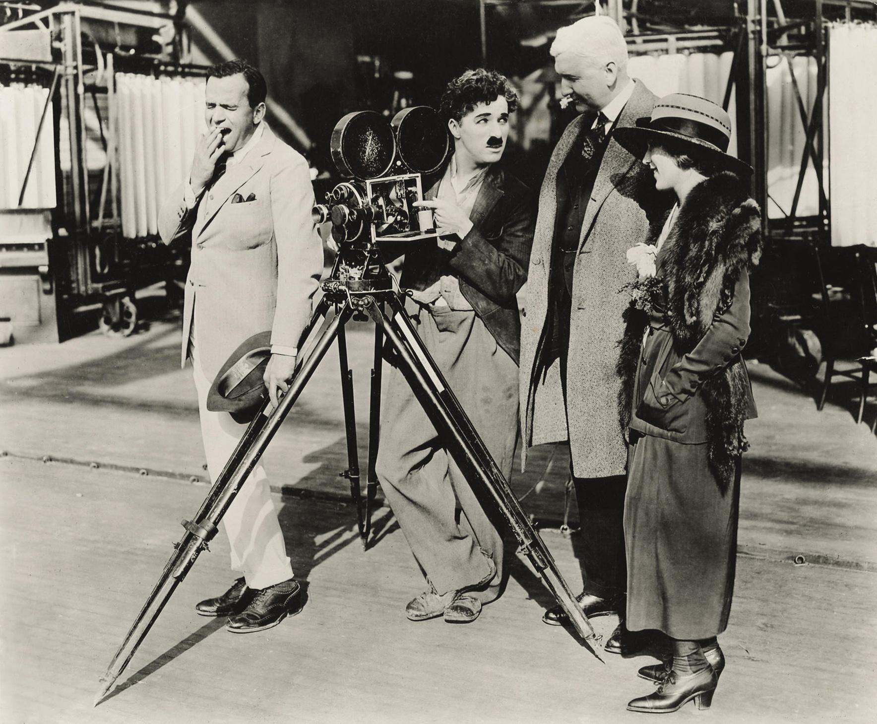 (L to R) Douglas Fairbanks, Sr.,Charlie Chaplin,Thomas Edison,Mary Pickford