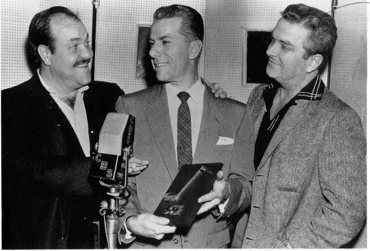 Norman MacDonnell (R) with William Conrad (L) and composer Rex Koury (Center)