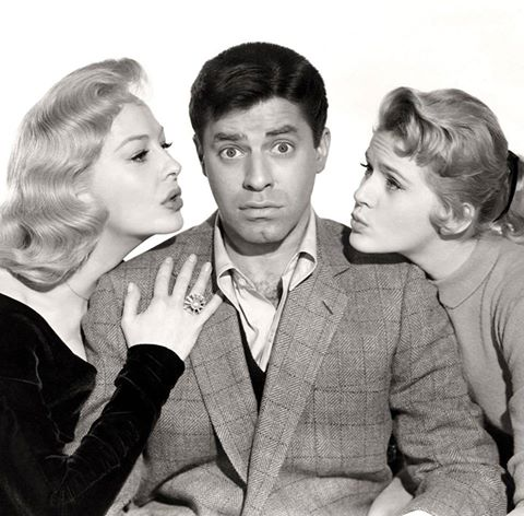 Happy 91st Birthday to JERRY LEWIS !  March 16, 1926  (Photo : Marilyn Maxwell, Jerry Lewis & Connie Stevens in a publicity shot for the movie