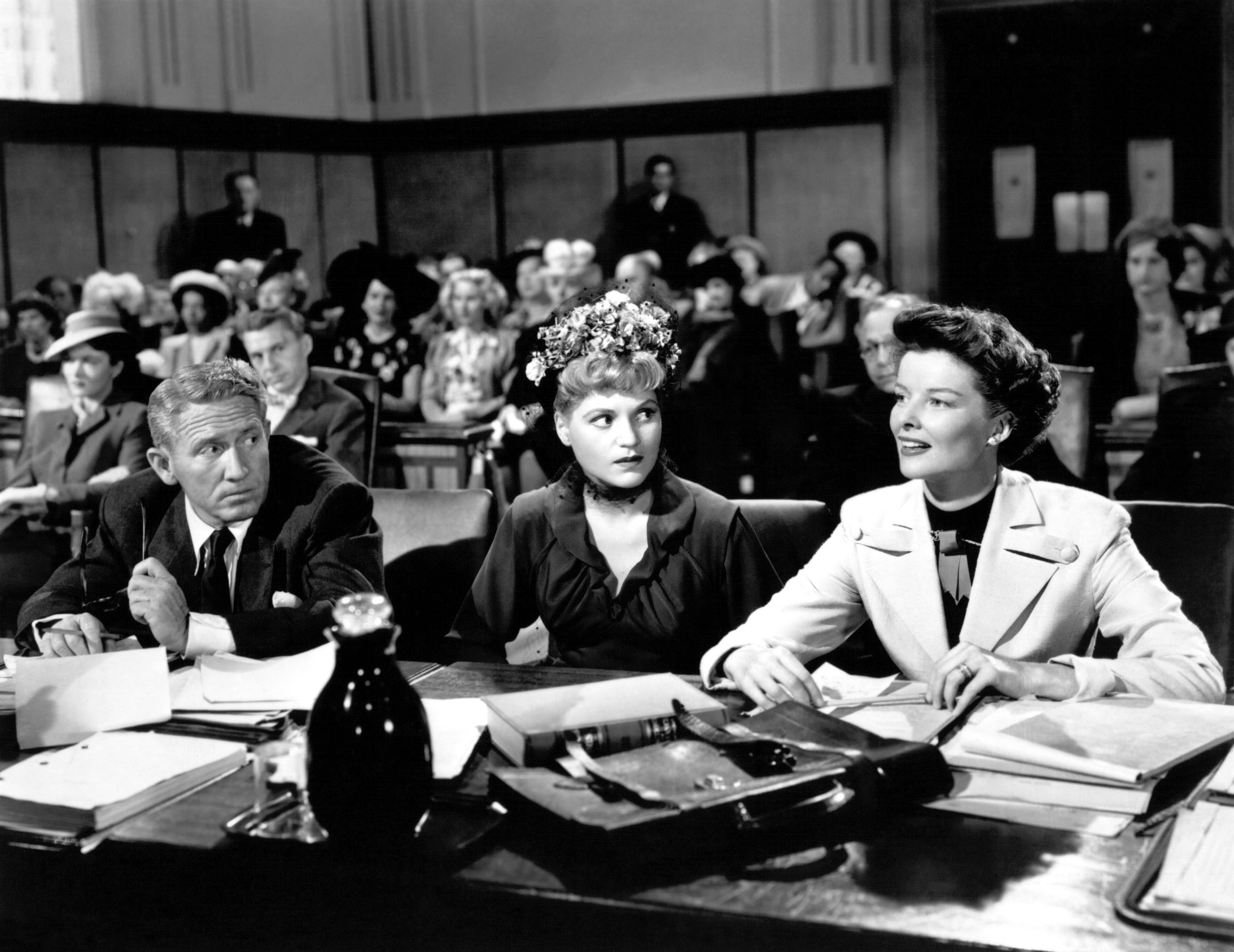 Spencer Tracy with Katharine Hepburn and Judy Holliday.